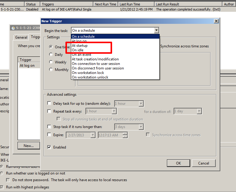 Windows – Task Scheduler can start programs at system startup or user logon